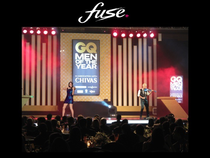 linzi stoppard and fuse string duo live entertainment at the gq awards