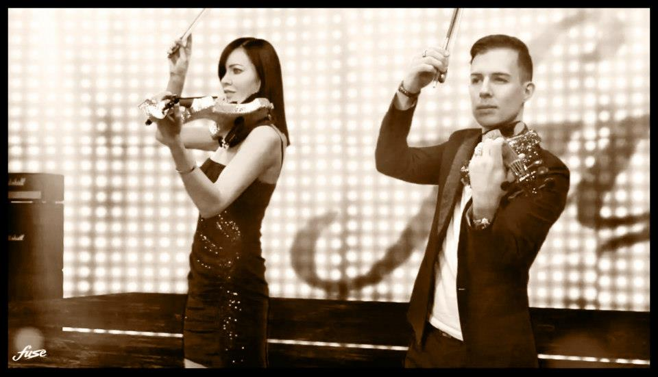 Fuse string duo sepia concert electric violinist hire london corporate entertainment