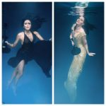 Montage of Linzi Stoppard goes underwater photo shoot