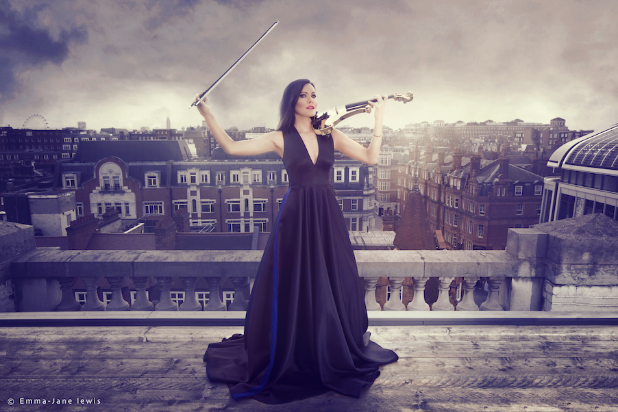 electric violinist linzi stoppard roof top fashion photo shoot