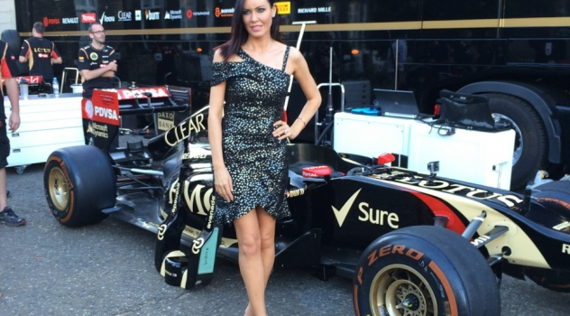 Electric Violinist Linzi Stoppard perform at British Grand Prix